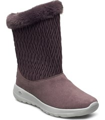 womens on-the-go joy - snow bunny shoes boots ankle boots ankle boot - flat rosa skechers
