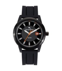 tommy bahama men's gulf shore sport black silicone strap watch, 44mm