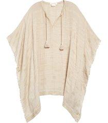 women's treasure & bond tassel trim poncho, size one size - beige