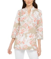 charter club printed embroidered voile linen-blend tunic, created for macy's