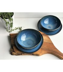 zestaw ceramiczny talerz plus miska dla dwojga