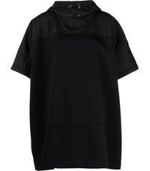 moncler drawstring short-sleeve cape - black