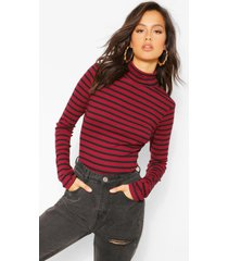 stripe high neck long sleeve top, burgundy