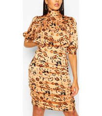 animal print tie neck ruched midi dress, apricot