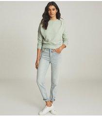 reiss bridgette - loungewear sweatshirt with seam detail in sage, womens, size l