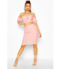 broderie anglaise bardot crop top&midi skirt co-ord, coral