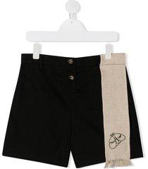 infantium victoria teen hemp sash embroidered shorts - black