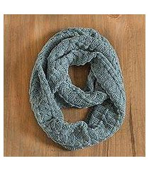 100% alpaca infinity scarf, 'feminine texture in celadon' (peru)