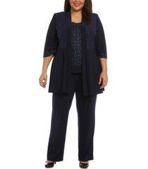 r & m richards plus size 3-pc. glitter jacket, top & pants set