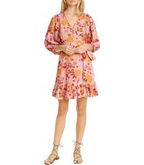 women's bytimo floral ruffle puff sleeve wrap dress