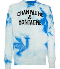 mc2 saint barth man sweater white and bluette tiedye champagne & montagne print