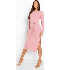 tall midi jurk met lange mouwen, zijsplit en ceintuur, mauve