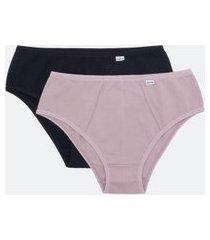 kit com 2 calcinhas básicas altas em algodão lisas delrio | delrio | roxo | g