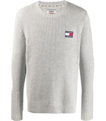 tommy jeans flag-patch jumper - grey