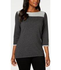 karen scott contrast 3/4-sleeve cotton sweater, created for macy's