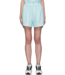 floral print cotton poplin shorts