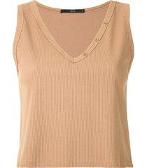 eva buttoned rib tank top - brown