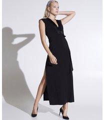 motivi vestito lungo a tubino con maxi spacchi donna nero