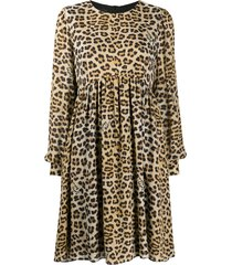 boutique moschino leopard-print tunic dress - neutrals