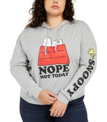 love tribe trendy plus size snoopy not today graphic-print hoodie