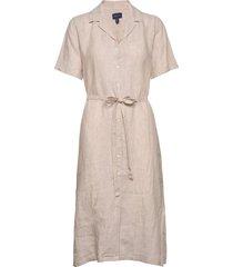 d2. linen chambray ss shirt dress jurk knielengte beige gant