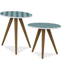 kit com mesa de canto e mesa lateral lyam decor retrã´ estampa azul - azul - dafiti