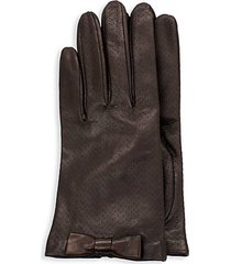 bow-trim perforated leather gloves