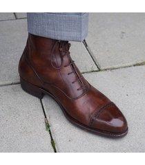 handmade men cape tone lace up dress boots, men brown color leather boots