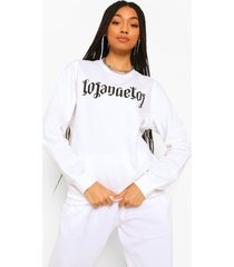 gothic sweater met tekst en opdruk, white