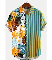 hombres verano hawaii playa patchwork random tropical striped bohemio camisa