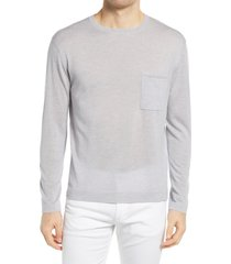 men's closed men's lightweight crewneck wool sweater, size medium - grey