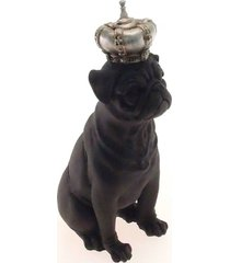 enfeite decorativo cachorro coroa prata resina preto 28x12cm