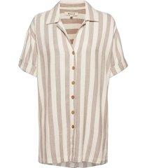 ashore stripe shirt kortärmad skjorta beige rip curl