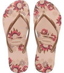 sandalias chanclas havaianas para mujer beige slim organic