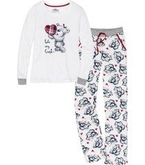 pigiama con applicazione di flanella (bianco) - bpc bonprix collection