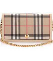 burberry house check coated canvas wallet on chain brown, beige, multi sz: