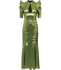 de la vali audrey lurex maxi dress - green
