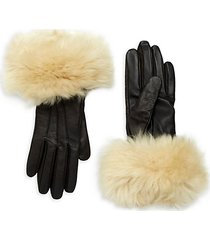 shearling-cuff leather gloves