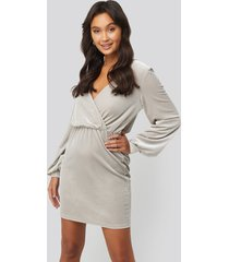 na-kd party velvet overlap mini dress - silver