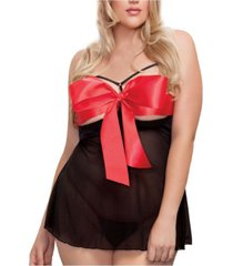 icollection women's 'i'm yours' open cup babydoll lingerie set
