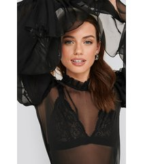 na-kd party layered sleeve frill blouse - black