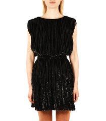 saint laurent black silk mini dress