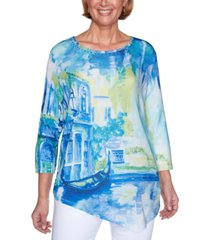 alfred dunner petite look on the bright side scenic-print top