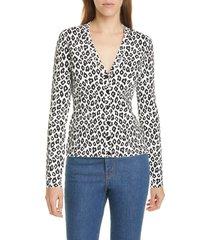 women's theory leopard print cardigan, size small - ivory
