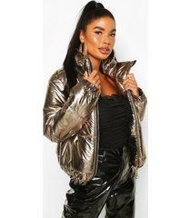 petite metallic puffer jacket, gold