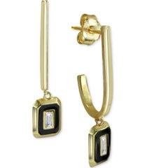 cubic zirconia baguette & enamel drop earrings in 18k gold-plated sterling silver
