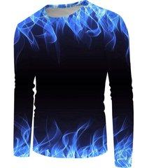 3d flame print long sleeve t-shirt