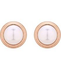kolczyki z różowym złotem z białą perłą swarovski® crystal