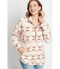 maurices womens geometric pattern sherpa pullover sweatshirt white