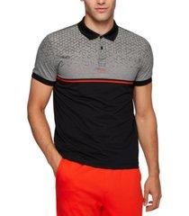 boss men's cotton polo hexagon-print shirt